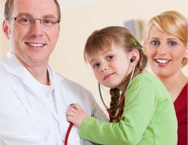 doctor with pediatric patient and woman